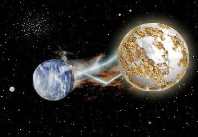 Un disegno del catastrofico passaggio di Nibiru vicino alla Terra