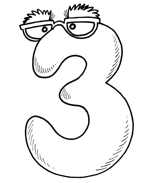 """Coloring Pages for Kids: Number Three """"3"""" Coloring Pages"""
