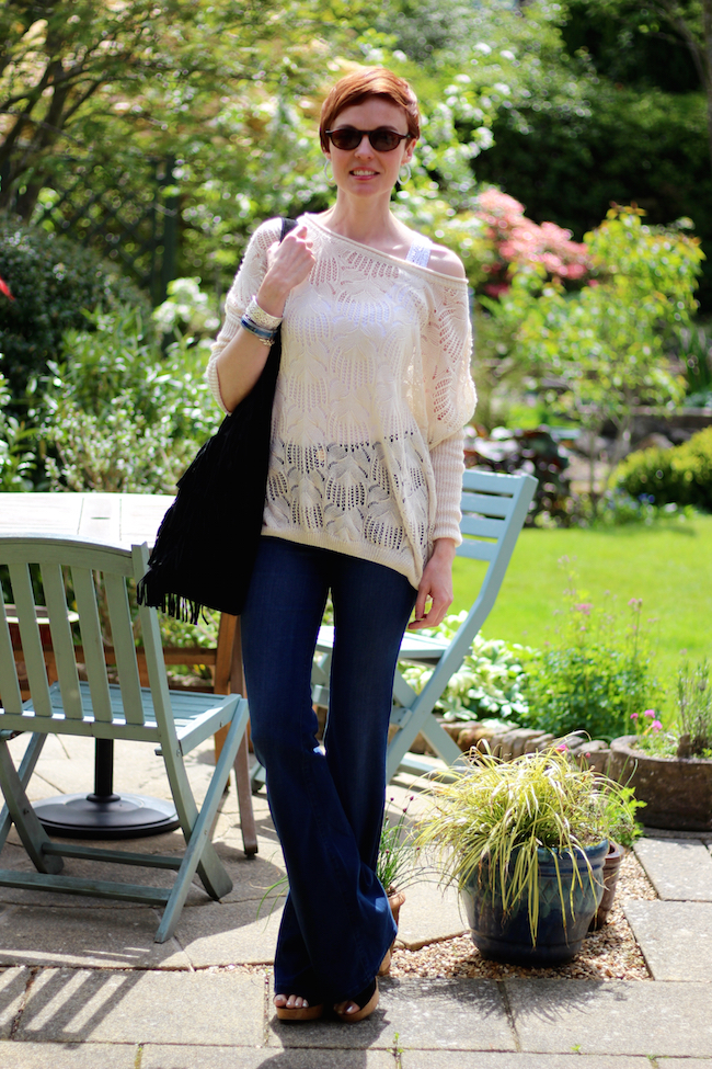 Fake Fabulous | Flared jeans, wedges and a sloppy knit