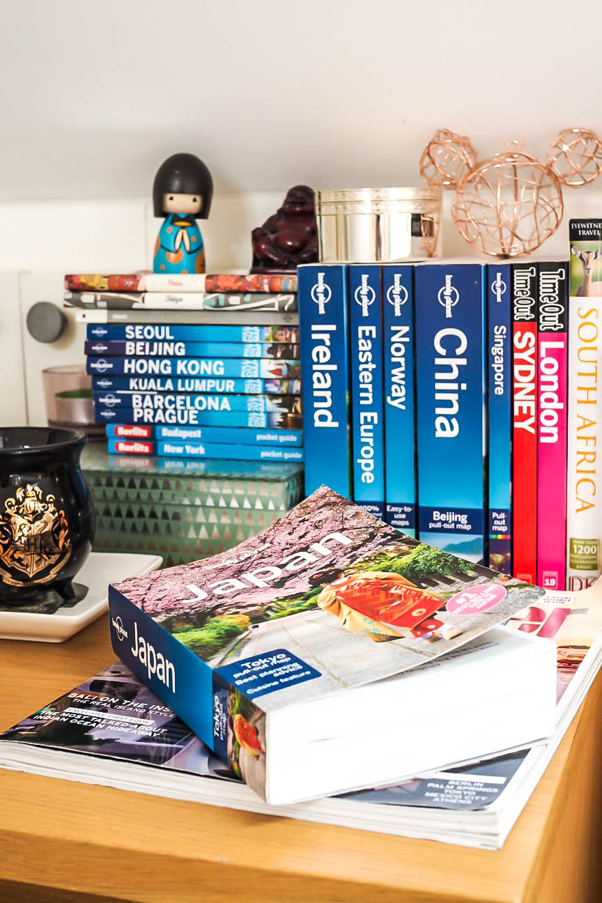 Collection of travel guide books