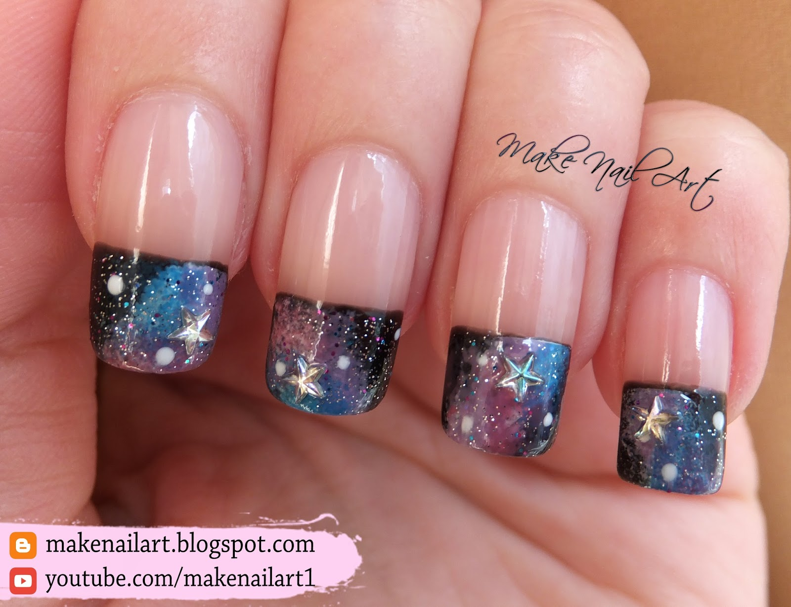 Make Nail Art: Galaxy French Manicure Nail Art Design Tutorial