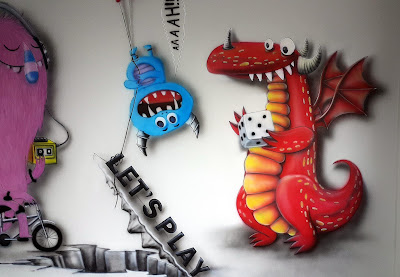 Aranżacja chillout room, artystyczne malowanie scian 3D w chillout room, graffiti w pokoju relaksacyjnym, malowanie obrazów na ścianie w pokoju wypoczynkowym