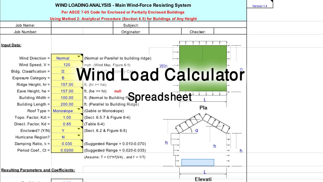 Wind Load Calculator Excel Spreadsheet | Free Downlaod - Civil Draw