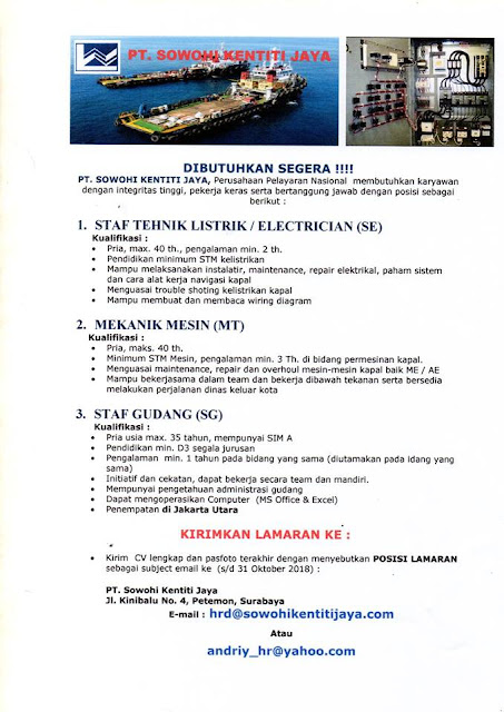 Lowongan Kerja PT Sowohi Kentiti Jaya Surabaya