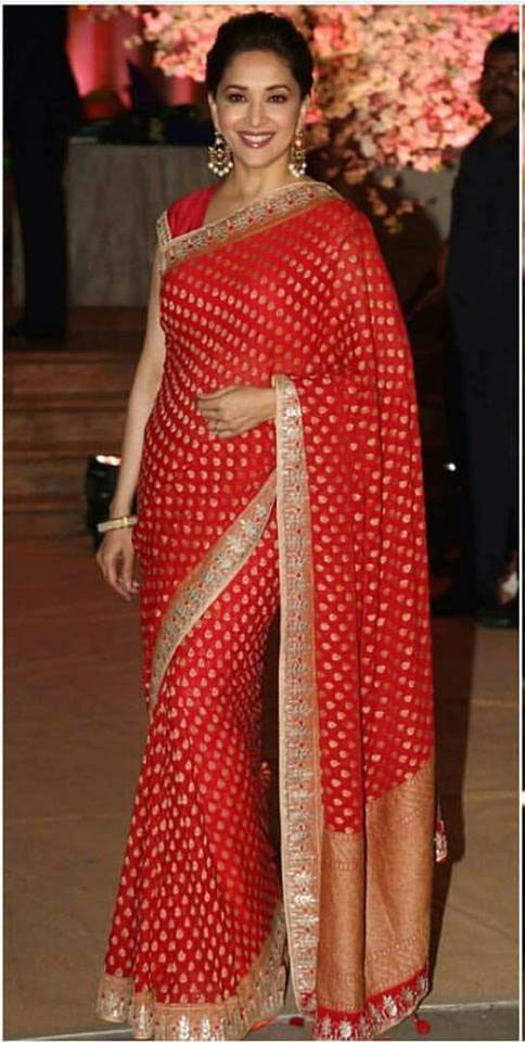 Madhuri Dixit in Anita Dongre Silk Saree