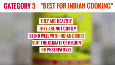 cold-pressed, wood pressed, virgin, kacchi ghani oils or the filtered versions of peanut oil, sesame oil, coconut oil and mustard oil are best oils for cooking in India