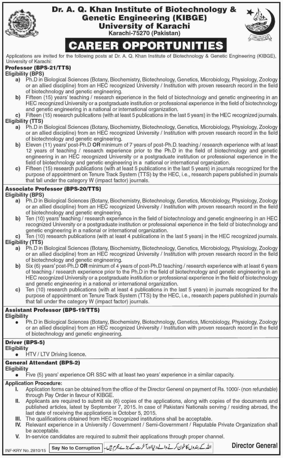 Pec Jobs: Jobs in Dr AQ Khan Institute of Biotechnology
