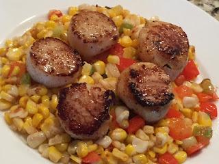 Seared Scallops with Warm Corn Salad