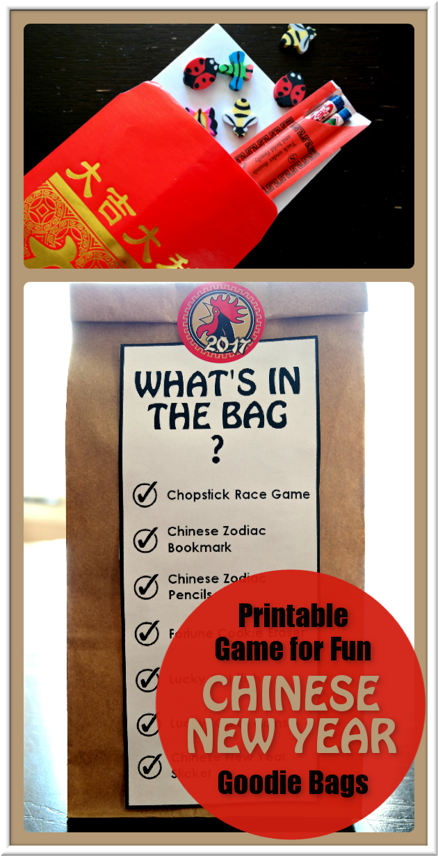 Chinese New Year Goodie Bag with Fun Free printable Chopstick Race Game and Bag Labels  |  3 Garnets & 2 Sapphires