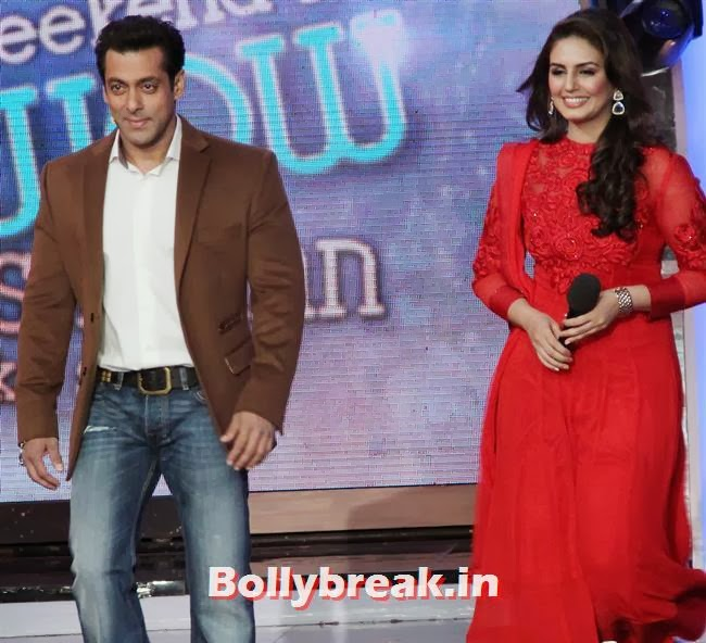 Salman Khan and Huma Qureshi, Madhuri Dixit Huma Quershi promote Dedh Ishqiya on Bigg Boss 7