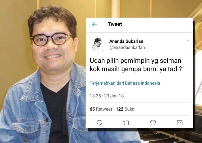 Pendukung Ahok Pianis Ananda Sukarlan kembali nyinyiri Gubernur DKI Anies Baswedan