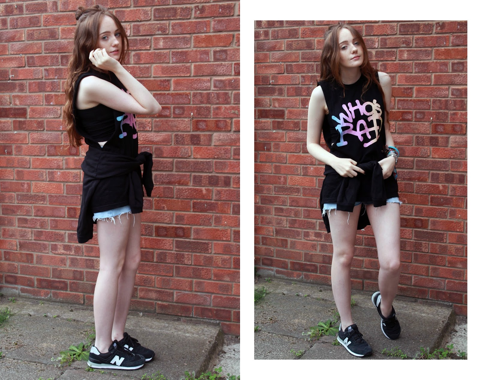 terrible movement who's rad muscle tee OOTD with H&M crop top, black sweatshirt, levi shorts and new balance 574s