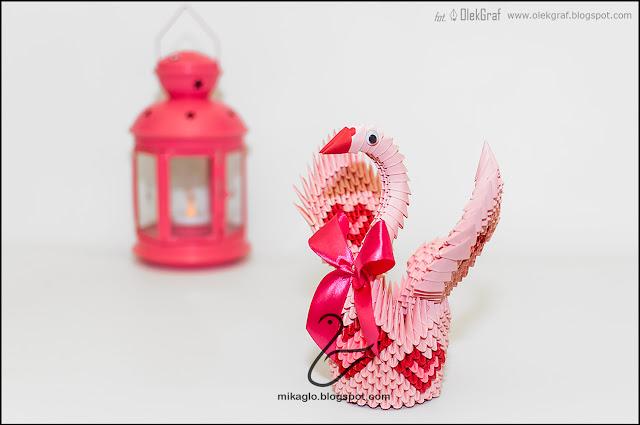 528. Różowy łabędź / 3d origami pink swan