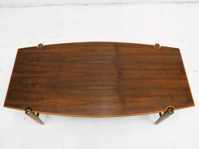 Dux Teak Walnut Cane Shelf Surfboard Coffee Table Top