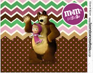 Etiqueta M&M de Masha y el Oso para imprimir gratis.