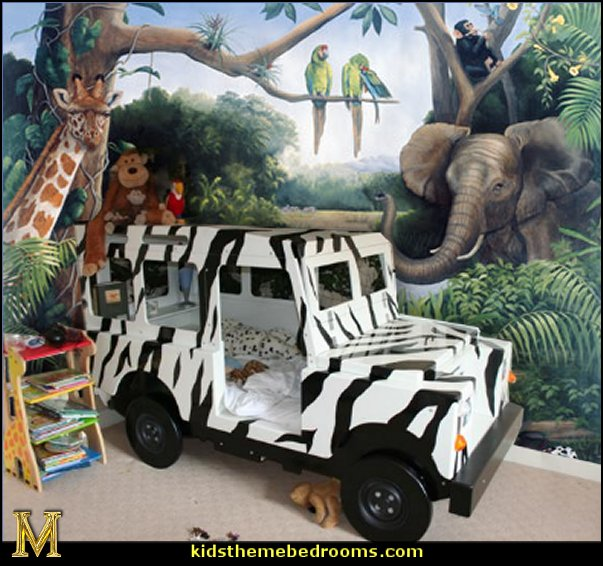 jungle-safar jeep bed   Jungle rainforest theme bedroom decorating ideas and jungle theme decor   jungle theme bedrooms - safari jungle themed wild animals - jungle animals wild safari bedroom ideas - tropical jungle theme - jeep beds  - wild animal murals - tropical lagoon murals - Lion king Disney Jungle vines wall decals - jungle animals wall decals