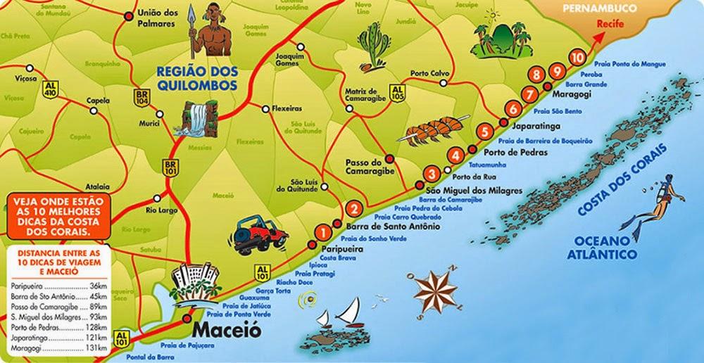 Mapas Do Litoral Norte De Alagoas Mapasblog