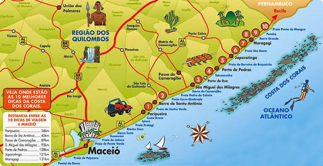 Mapa do Litoral Norte de Alagoas