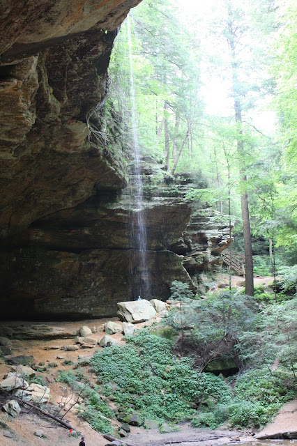 Glistening waterfall at Ash Cave in Hocking Hills.