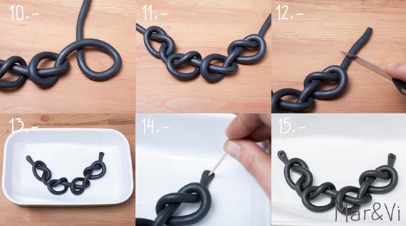 como hacer un collar de nudos con fimo