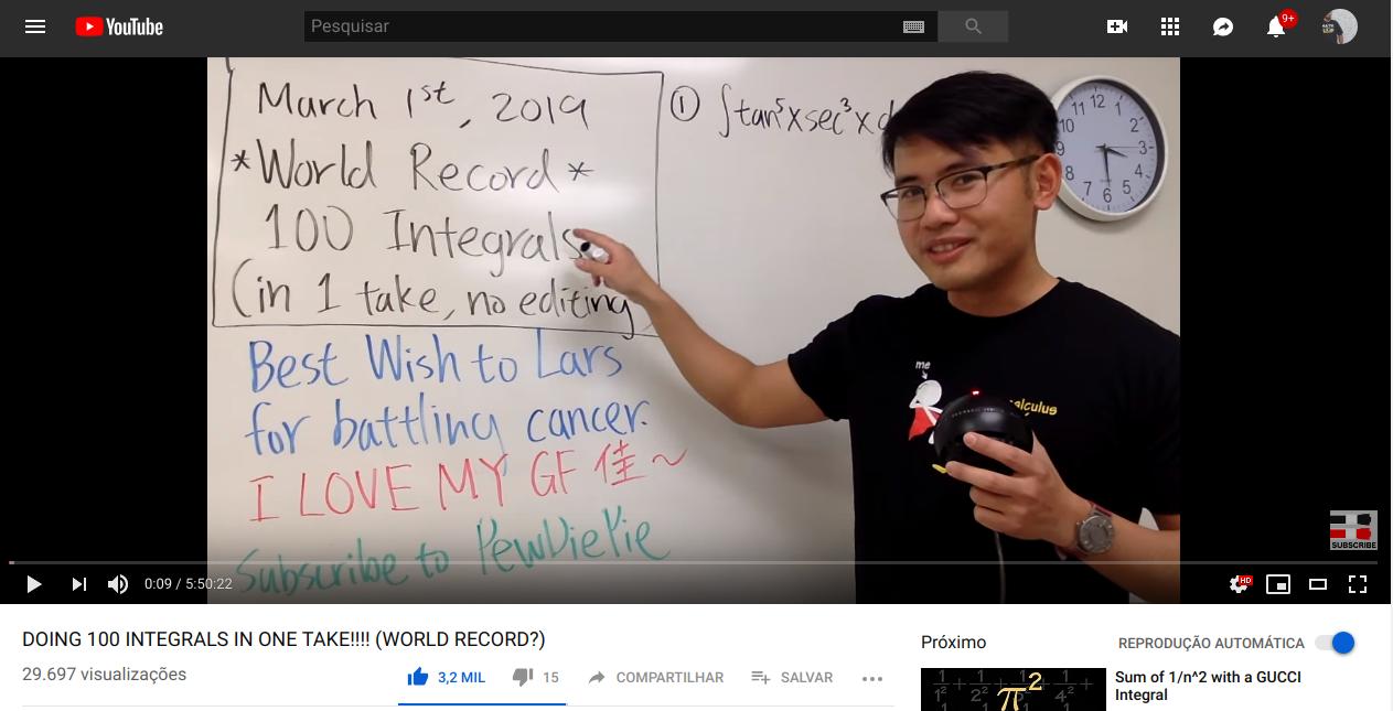 Esse YouTuber ficou 6 horas resolvendo integrais para ajudar seu amigo que está com câncer