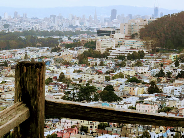 View of downtown San Francisco and North Beach from the 16th Avenue Tiled Steps in San Francisco