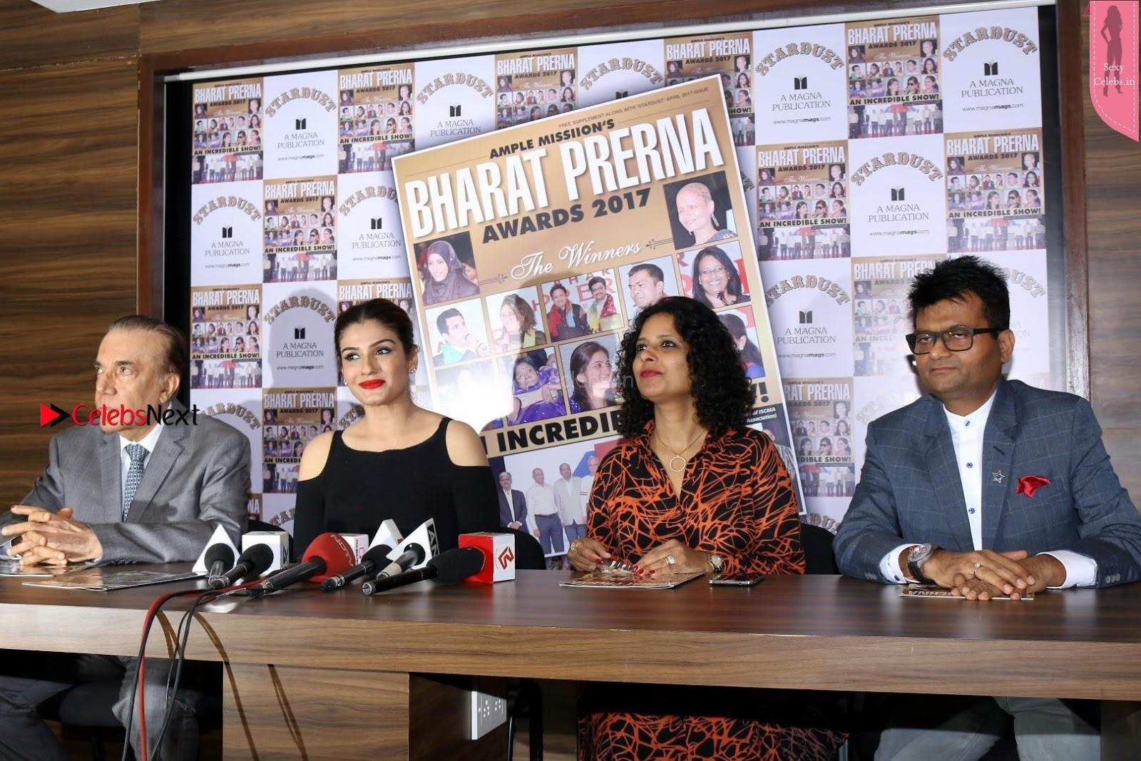 Raveena Tondon in a glittering silver Anarkali Dress at Media Interaction for movie Maatr 5th April 2017