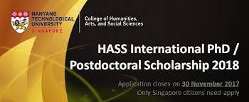 NTU HASS International PhD Scholarship