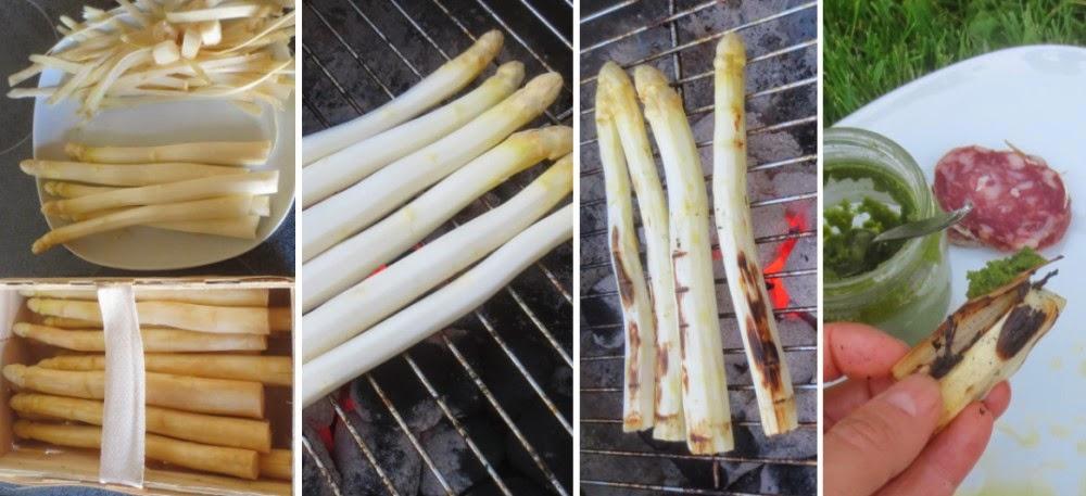 Zubereitung Gegrillter weißer Spargel mit Salami und Bärlauch-Pesto