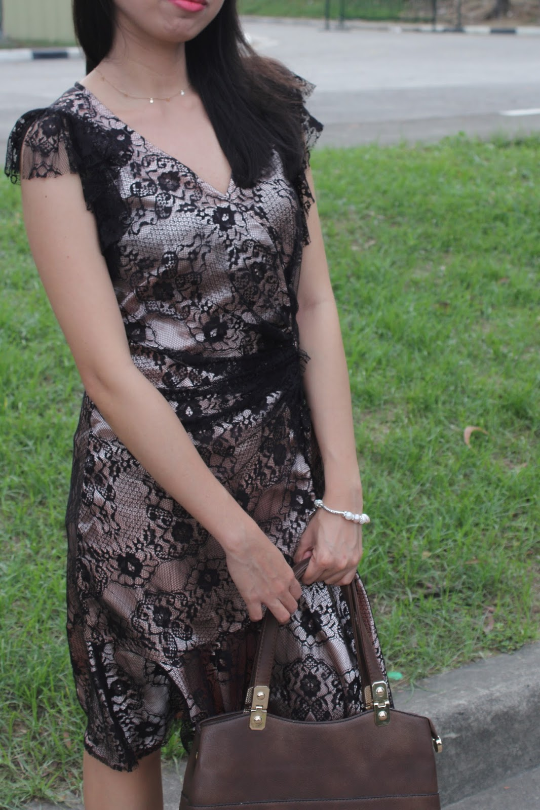 styling metallic with lace dress