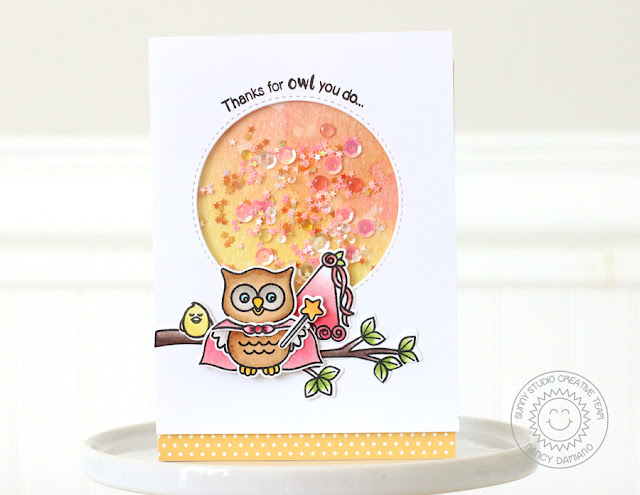 Sunny Studio Stamps: Happy Owl-o-ween Princess Owl Thank You Card by Nancy Damiano