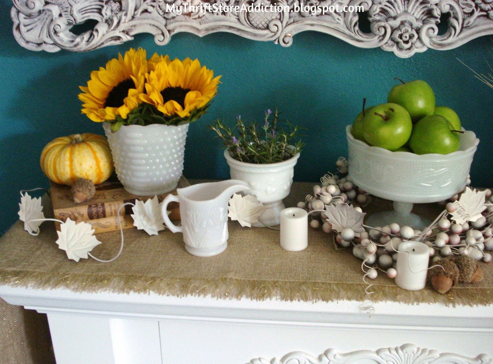 Autumn Harvest Botanical Mantel mythriftstoreaddiction.blogspot.com Use thrift store milk glass and items from your grocery store produce to create a beautiful fall mantel and save money