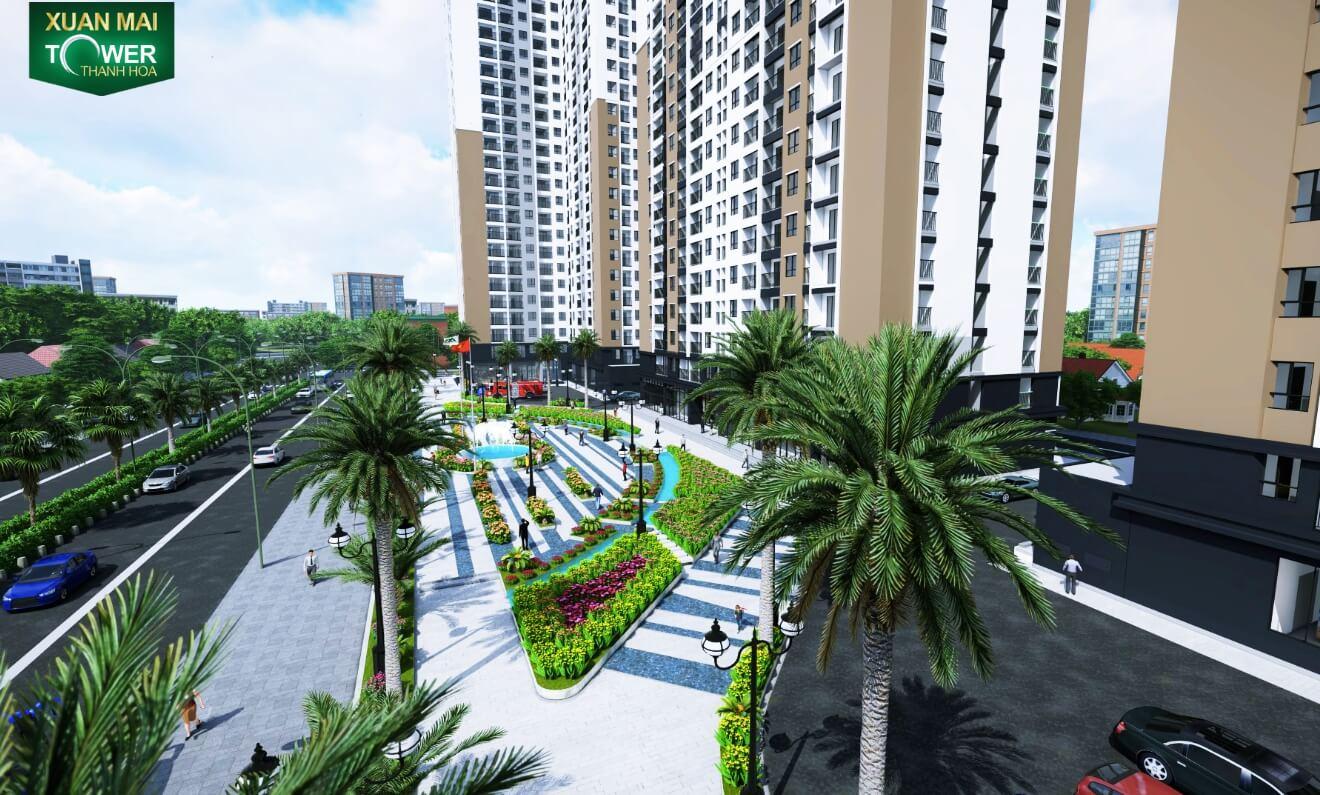 Khuôn viên xung quanh của dự án căn hộ Xuân Mai Tower