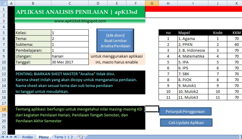 Aplikasi Analisis Penilaian Kurikulum 2013 Sd Apk13sd