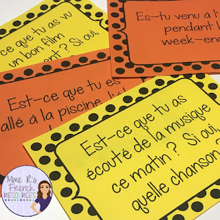 French conversation cards are a great way to get students speaking! Use them as a speaking activity during class, as bellwork, or as exit tickets.
