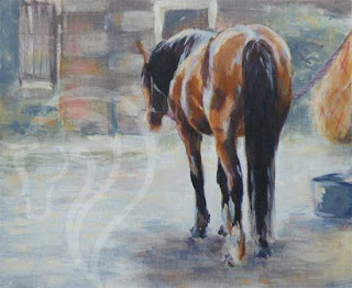 Resting, Acrylic painting of horse, equestrian art