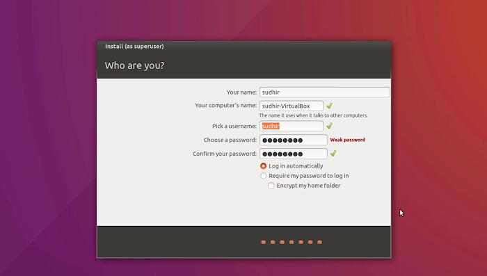 Fill User Details | Installation of Ubuntu