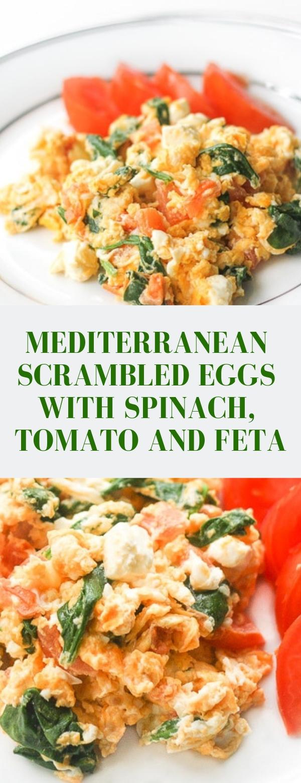 MEDITERRANEAN SCRAMBLED EGGS WITH SPINACH, TOMATO AND FETA #keto #dietrecipes #ketorecipes