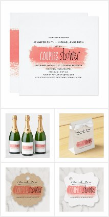 Coral wedding invitations and party supplies