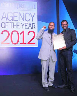 Best Agency in South Asia - Murtaza and Subhash collecting the Gold Award in Singapore!