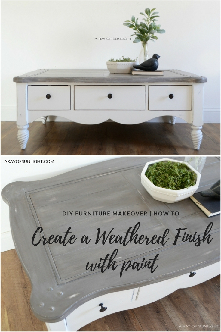 What a transformation! I love the grey painted weathered wood layered finish on the top with a crisp white base! This is perfect for my farmhouse style! Furniture Makeover | The Shiplap Coffee Table by A Ray of Sunlight | How to Create a Weathered Finish with Paint