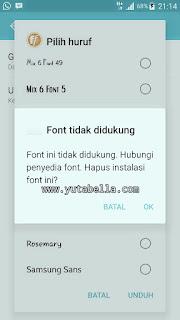 Samsung Galaxy font gratis tidak didukung