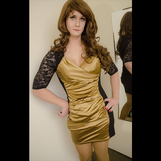 Crossdresser Style Beautiful Gold Dress