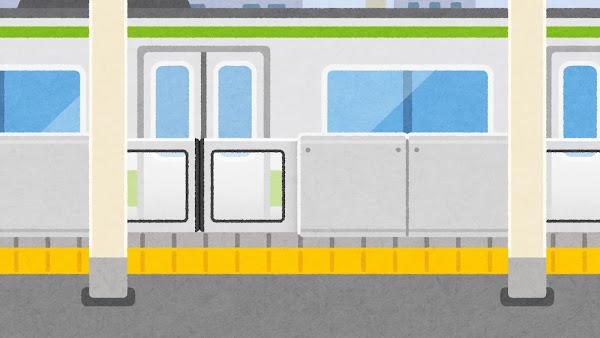 電車が来たホームドアのある駅のイラスト(閉じた状態・背景素材)