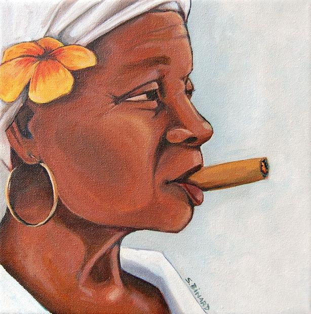 Sallyart Fresh Easel Cuban Woman With Cigar