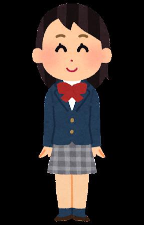 ブレザーの女子学生のイラスト(くるぶしソックス)