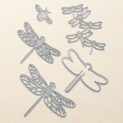 This image is a photograph of the dies in the Detailed Dragonfly Thinlits Dies set by Stampin' Up!