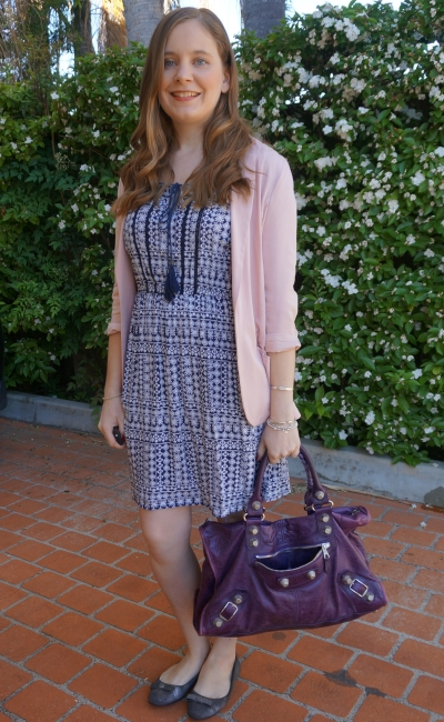 blush pink blazer, blue boho print dress silver ballet flats purple Balenciaga work bag office outfit | AwayFromBLue