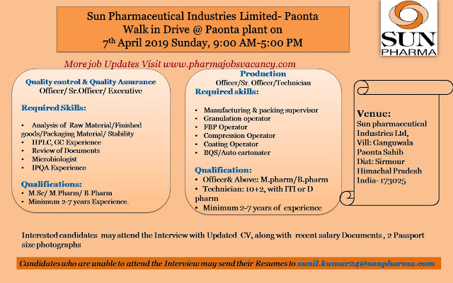 Pharmajobs: Sun Pharmacueticals ltd  Walk in interviews for