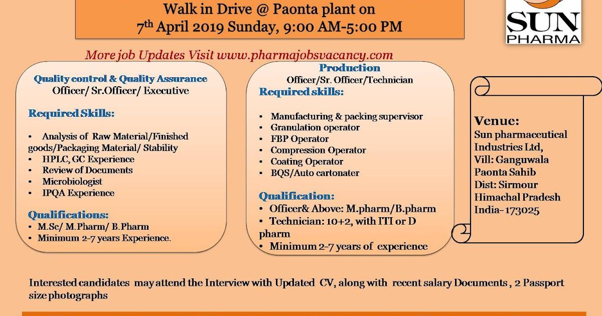 Pharmajobs: Sun Pharmacueticals ltd  Walk in interviews for